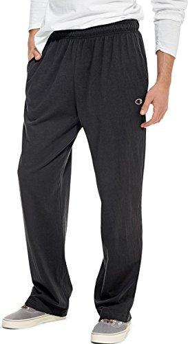 Champion Authentic Men's Open Bottom Jersey Pants_Black_X-Large