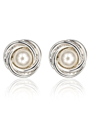 M&S Collection Pearl Effect Twisted Knot Stud Earrings