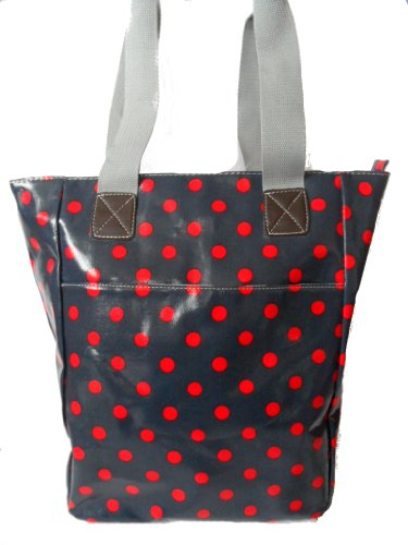Gossip Girl - Oilcloth PVC Shopper Tote Bucket Bag Polka Dot Spot - NAVY BLUE RED