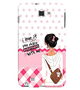 PrintVisa Stylish Cool Girl Quotes 3D Hard Polycarbonate Designer Back Case Cover for Samsung Galaxy Note 2