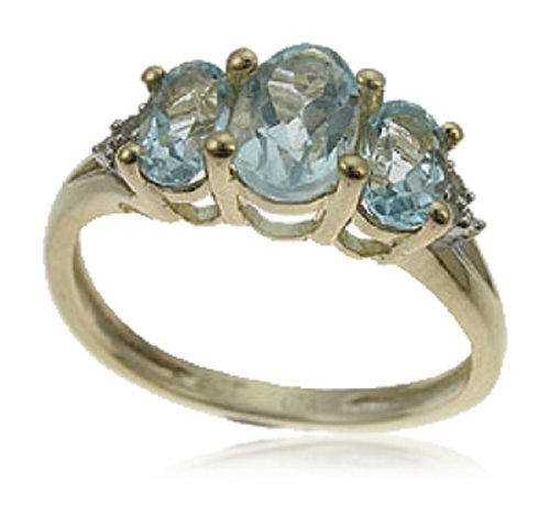 9ct Yellow Gold 3 Stone Sky Blue Topaz & Diamond Ring