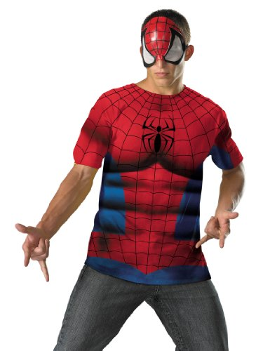 Classic Spiderman Costume T-Shirt & Mask Red Easy Superhero Theatrical Mens