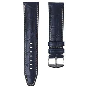 """Bracelet de montre en cuir véritable de ZRC 559 """"Indiana"""", Fait main, Bleu marine, 22mm"""
