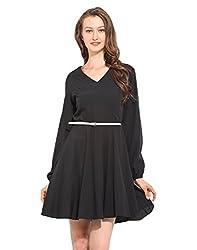 Black Polyester Skater Dress Medium