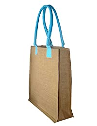 Foonty Blue Handle Jute Bag