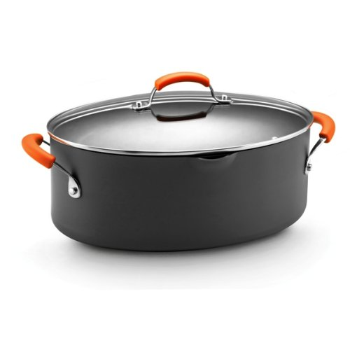 Rachael Ray Hard Anodized II Nonstick Dishwasher Safe 8-Quart Covered Oval Pasta Pot, Orange (Rachel Ray Steamer Orange compare prices)