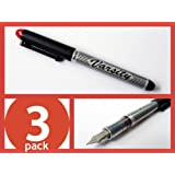 3 each Pilot Varsity Disposable Fountain Pens, RED Ink 90005