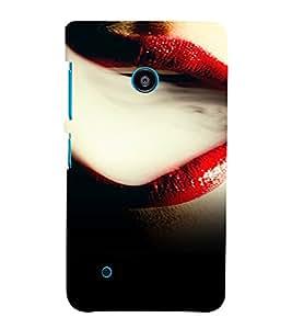 PrintVisa Red Lips Smoke 3D Hard Polycarbonate Designer Back Case Cover for Nokia Lumia 530