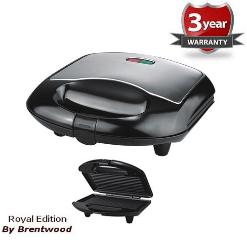 Royal Stainless Steel Panini Press Sandwich Maker Smart Electric Non Stick - Make Professional Panini Sandwiches