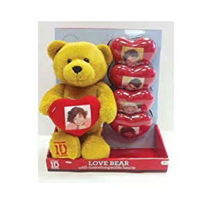 Play Visions 1D One Direction Plush Bear with Detachable Heart -Includes One Heart Each with Liam, Niall, Zayn, Harry and Louis
