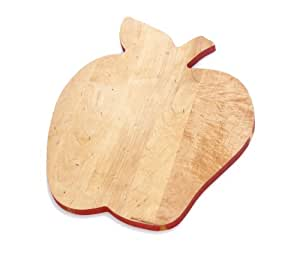 J.K. Adams Solid Maple Wood Fruit-Shaped Cutting Board, 14-inches by 11-1/2-inches, Apple
