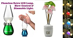 Combo of Blow ON OFF Rechargeable Retro LED Lamp + Mushroom Design Soft Color Changing Night Lamp