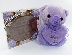 mothers day gift, love sign chocolate for mom, Godiva chocolate truffles, and I LOVE MOM teddy, purple gift set. by MK