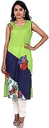 Touch Patiala Women's Cotton Regular Fit Kurta (Green, X-Large)