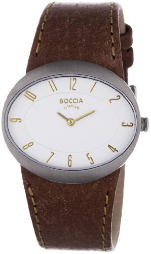 Boccia Women's Quartz Watch with Silver Dial Analogue Display and Brown Leather Strap B3165-01