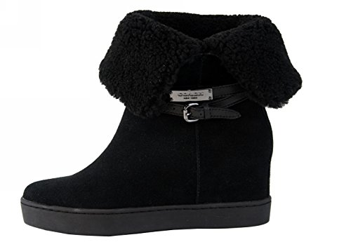 Coach Norell Wedge Ankle Boot Black Suede/Shearling Cold Weather/Winter Shoe