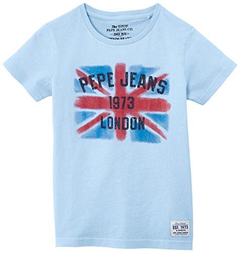 Pepe Jeans Jungen T-Shirt, DAMIAN, GR. 176 (Herstellergröße: 16 ans), Blau (Fade)