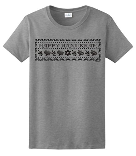 Happy Hanukkah Ugly Christmas Sweater Ladies T-Shirt Small Sport Grey