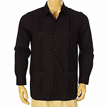 Men's guayabera polycotton long sleeve