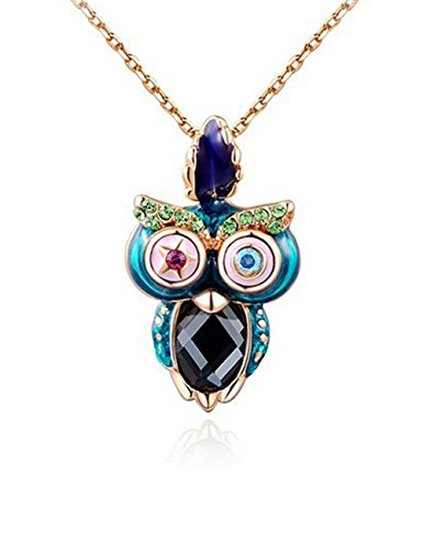 Konalla Colorful Owl Austrian Crystals Rose Gold Plated Pendant Necklace,19.6""