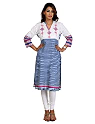 ALZARA Women's Cotton Kurti Sky Blue And White Youg Embroidery - B015HD4A2S