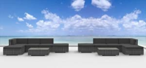Urban Furnishing - LAGUNA 12pc Modern Outdoor Backyard Wicker Rattan Patio Furniture Sofa Sectional Couch Set - Charcoal from UrbanFurnishing.net