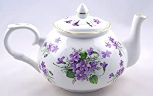 Fine English Bone China Teapot - Crown Victorian - Wild Violet Chintz