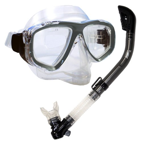 PROMATE Snorkeling Scuba Dive DRY Snorkel PURGE Mask Gear Set, Titanium
