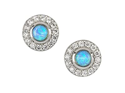 Blue Opal and cz diamond earrings, sterling silver with cultured opals.