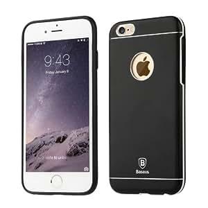 Crazy4Gadget Baseus Magnesium Alloy Back Cover + TPU Frame Protective Case for iPhone 6 Plus(Black)