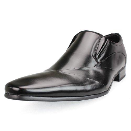 [エムエムワン] MM/ONE 30種類から選べる 靴 ビジネスシューズ メンズ レースアップ レースアップフラット モンクストラップ スリッポン スリップオン ホールカットタイプ ドレスシューズ ロングノーズ エナメル フェイクレザーストレートチップ プレーントゥ モカシン スワール モカシン Uチップ ラウンドトゥ ポインテッドトゥ スクエアトゥ 型押し イントレチャート 編み込み エンボス加工 内羽根 外羽根 ブラック 40(25cm)