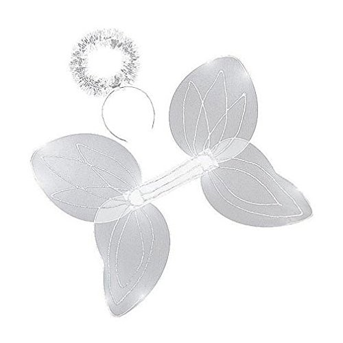 White Sparkle Angel Wings & Halo Headband