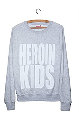 Heroin Kids Logo Statement Hip Hop Sweater Grunge & Dope Chic Sweatshirt Grau