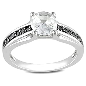 Sterling Silver 1 3/8 CT TGW Created White Sapphire 1/7 CT TDW Round Black Diamond Fashion Ring