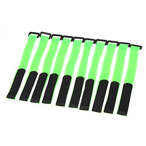 BW® 10Pcs 30cm Magic Tape Strap Velcro Strap Antiskid for Lipo Battery of RC Aircraft Vehicle Boat (green) - 1