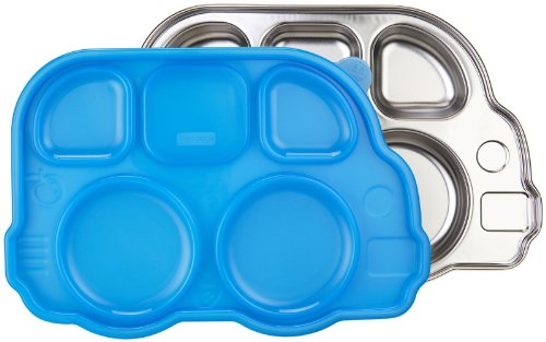 Innobaby Din Din Smart Stainless Divided Platter with Sectional Lid, Blue
