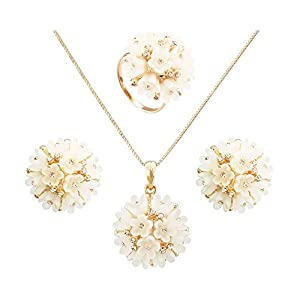 FM42 Champagne Crystal Accent Large Flower Cluster Earring Necklace and Ring Jewelry Set Size 9