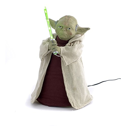 Star Wars Battery Operated Yoda With LED Light Saber and On/Off Button Tree Topper