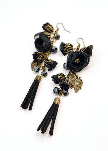 """KIM"" black flower dangle and drop earrings for women and young ladies-by fashion jewelry designer Ana Popova"