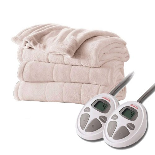 Sunbeam Channeled Velvet Plush Electric Heated Blanket King Seashell (Heated Blanket King White compare prices)