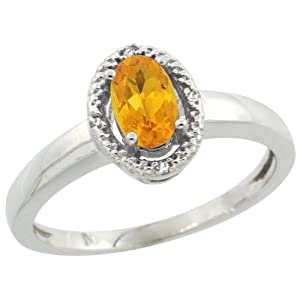 Sterling Silver Diamond Halo Natural Citrine Ring Oval 6X4 mm, 3/8 inch wide, size 5.5