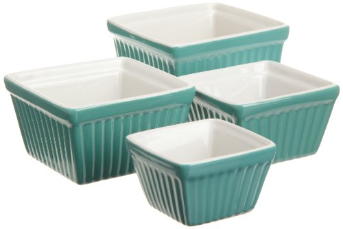 BIA Cordon Bleu Raffia Square Ramekins, 2 Tone, Jade Green, Set of 4
