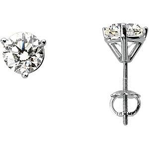 Round Diamond Earrings in 14k White Gold - 2 Cttw Studs