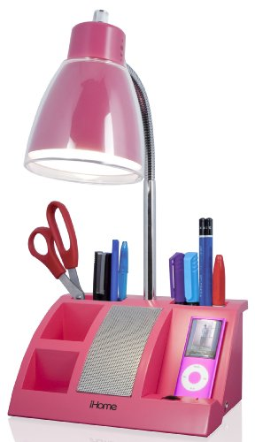 iHome iHL24-Pink Colortunes Desk Organizer Speaker Lamp with iPod Player Compartment, Pink