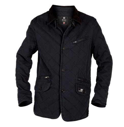 D555 Mens Quilted Jacket, Elbow Patch, Black (S-XL)