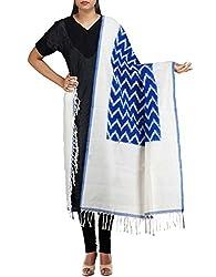 Unnati Silks Women Blue-Cream Pure Handloom Pochampally Cotton Dupatta