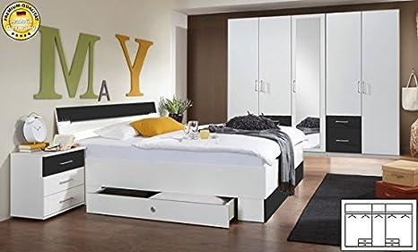 Schlafzimmer komplett 4-teilig 603560 weiß / anthrazit