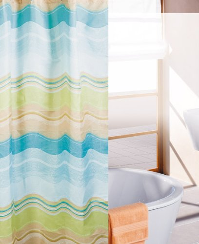Shower Curtain Waves Waterproof Polyester 180×200 cm