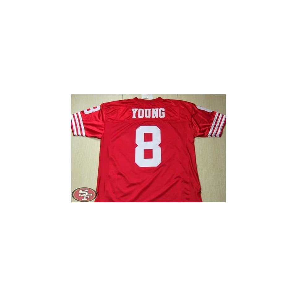 570b63b45 49ers #8 Steve Young Jersey Red Throwback Nfl Jersey Authentic Football  Jerseys Jersey