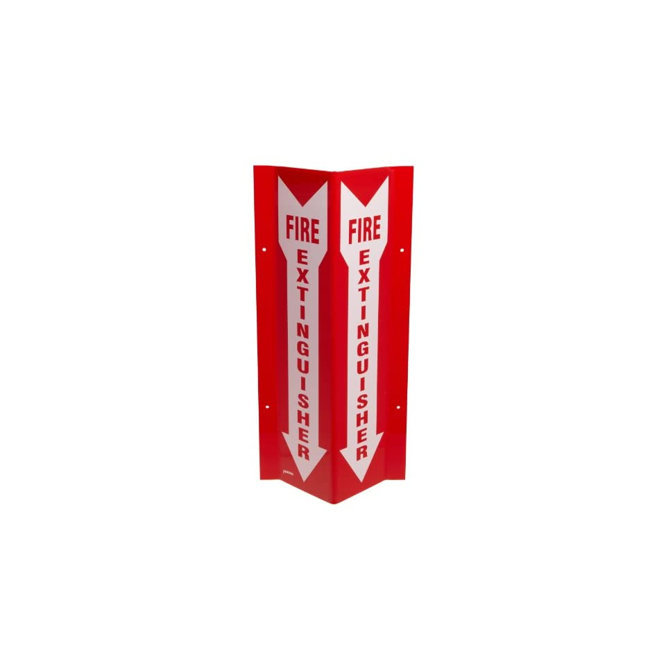 Brady SP818V 18 Height, 8 1/2 Width, 3 1/4 Depth, Acrylic, Red On White Color Tall V Sign, Legend Fire Extinguisher (With Picto)